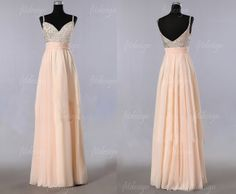 champagne prom dress long prom dress chiffon prom by fitdesign, $129.00