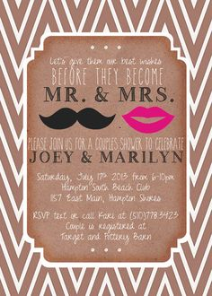 Wedding Couples Shower Invitation Mustache & Lips by mailboxbliss