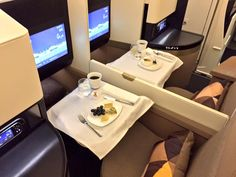 Etihad's brand new Airbus A-380-800 - Business Class Dining. Dec 2014.