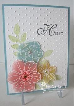 handmade card ... beautiful Secret Garden flowers white embossed, then colored from behind, cut with matching framelits and popped up on card ... sweet and delicate look!! ... Stampin' Up!