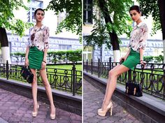 Look of the day: Green and Butterflies (by Tina Sizonova) http://lookbook.nu/look/3672691-Look-of-the-day-Green-and-Butterflies