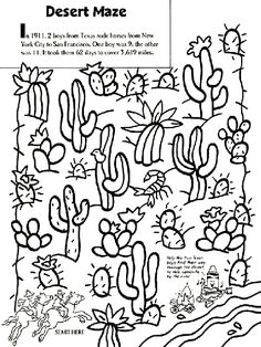 Desert Maze Coloring Page