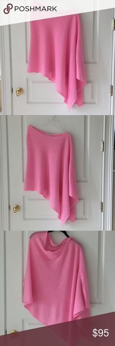 White + Warren Bubblegum Pink Cashmere Poncho Gorgeous like new White + Warren Poncho, size small.  100% Cashmere in a fabulous bubblegum pink color.  White + Warren is know for their incredible high quality cashmere products.   Perfect condition!!   Be sure to check my other listings.  Thanks. White + Warren Sweaters Shrugs & Ponchos