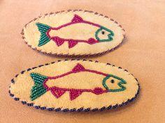 Salmon Barrettes by Alaska Beadwork Bead Embroidery Patterns, Beaded Embroidery, Beading Patterns, Indian Beadwork, Native Beadwork, Fabric Jewelry, Beaded Jewelry, Seed Bead Crafts, Native American Crafts