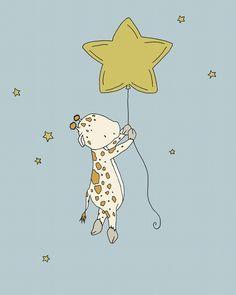 Giraffe Nursery Art - Giraffe Star Balloon - Safari Nursery Art