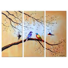 Colorful Birds' 3-piece Hand-painted Oil on Canvas Art Canvas Oil Painting-