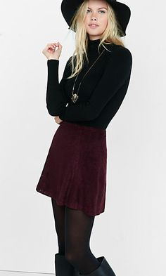 burgundy a-line laser cut mini skirt