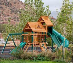 Playful Escape Kids Playset Outdoor, Backyard Playset, Kids Playhouse Plans, Build A Playhouse, Kids Indoor Playground, Playground Ideas, Large Backyard Landscaping, Backyard For Kids, Backyard Ideas