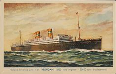 Refugee Ship 1939: Postcard of the RMS Veendam, a Holland-America Line ship on which many German Jews fled to the United States, including Edward Adler.