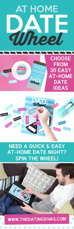 The Date Wheel- fun idea to help you plan date night. Choose from 30 easy, at-home date ideas.