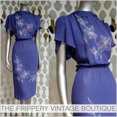 vintage 80's purple shoulder detail dress