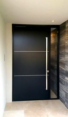 The bold, contemporary lines of the Mosman door give a distinctive sense of European style to any project. Flush Door Design, Home Door Design, Wooden Main Door Design, Door Design Interior, Front Door Design, Modern House Design, Modern Entrance Door, Modern Exterior Doors, Modern Door