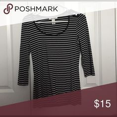 Black and white striped shirt It is very soft material and semi tight fitting White House Black Market Tops Blouses