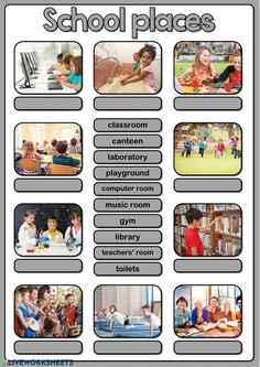 School places: School rooms and places exercise Vocabulary Worksheets, School Worksheets, Why Is School Important, English Units, Teachers Room, School Places, Basic Grammar, English Lessons, English Class
