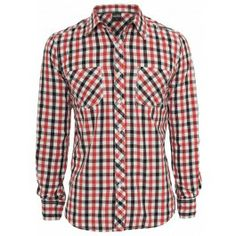 URBAN CLASSICS RED TRICOLOR BIG CHECKED SHIRT - Sale £20 Shirt Sale, Check Shirt, Urban, Tees, Shirts, Button Down Shirt, Men Casual, Menswear, Plaid