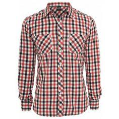 URBAN CLASSICS RED TRICOLOR BIG CHECKED SHIRT - Sale £20