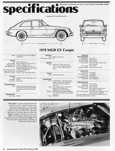 1970 MGB GT specs Not the same as a roadsters but close
