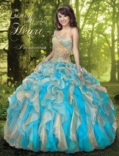 2013 Quinceanera Dresses, Elegant Sweetheart Neck Blue and Orange Balll Gown Beading Ruffles Quinceanera Dress Style 41002