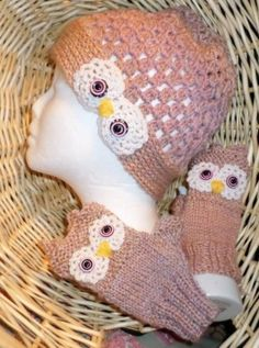 CROCHET-KNIT-OWL-HAT-W-FINGERESS-GLOVES-Sizing-STUDENT-TO-ADULT-20-22