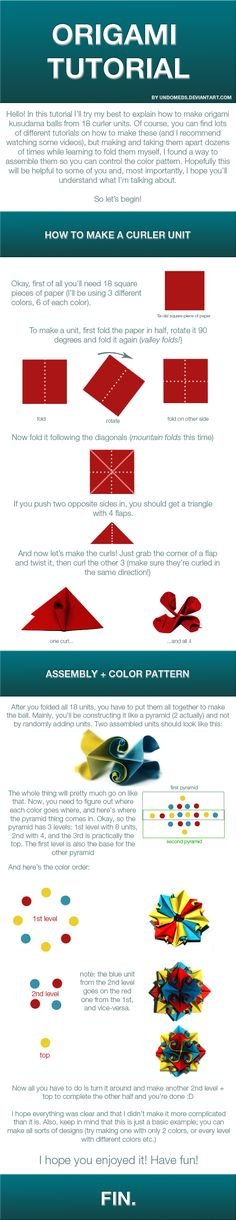 Origami curler ball tutorial by undoMeds on deviantART