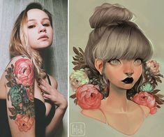 13Wo. loisvb  - Wowww guys look at this! @yanatravis got a tattoo inspired by my art, tattooed by @derevorodu. It's so beautiful ❤ I had to share!