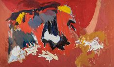 """Ethel Schwabacher, """"Antigone I"""" (1958), oil paint on canvas, 51 x 85 in, Collection of Christopher C. Schwabacher and Brenda S. Webster (image courtesy Christopher C. Schwabacher and Brenda S. Webster)"""