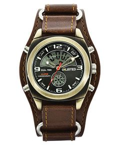 Unlisted Watch, Men's Analog Digital Brown Leather Cuff