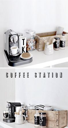 The coffee/tea area of my kitchen is an absolute nightmare. I'd love to revamp it to look a little more like this. | coffee talk, via sfgirlbybay