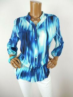 cf6782c6acb3ae CHICO S Sz 2 Womens Top L Blue White Button Down Print Shirt Casual 3 4  Sleeves  Chicos  Blouse  Casual