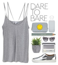 """dare to bare"" by khansaerika ❤ liked on Polyvore featuring Cami NYC, Folk, Lux-Art Silks, Clinique, Estée Lauder, Anya Hindmarch, Illesteva, bkr, makeup and grey"