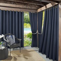 Outdoor Curtains For Patio, Outdoor Pergola, Outdoor Fabric, Backyard Patio, Indoor Outdoor, Outdoor Living, Pergola Curtains, Outdoor Rooms, Outdoor Curtain Rods