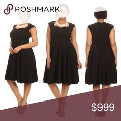 """LAST ONE! (Plus) Black Fit n Flare dress Black fit n flare dress. Very stretchy! 96% polyester/ 4% spandex. True to size. Dress shown in photos is size 1x. Bust stretches well beyond each measurement. Not sheer. This dress has some weight to it.  1x- L: 42"""" • B: 38"""" 2x- L: 43"""" • B: 40"""" 3x- L: 44"""" • B: 42"""" 1x•2x•3x • 0•0•1 ⭐️This item is brand new with manufacturers tags, boutique tags, or in original packaging. 🚫NO TRADES 💲Price is firm unless bundled 💰Ask about bundle discounts Dresses…"""