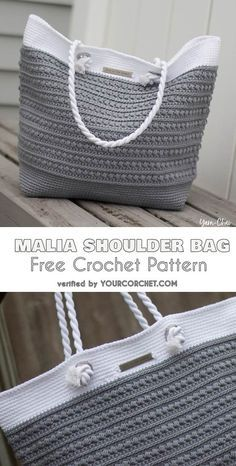 Malia Shoulder Bag Free Crochet Pattern #freecrochetpatterns #crochetbag #summerbag