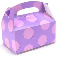 CHILDRENS BIRTHDAY PARTY FAVORS (24) LAVENDER WITH PINK DOTS EMPTY BOXES