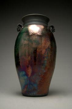 Large Raku Vase  Raku Pottery  Copper Vase  Metallic  by clayguyry