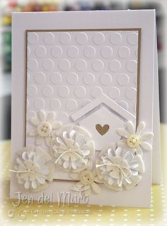 White and Kraft would use fewer flowers and add bird punch Bird Cards, Butterfly Cards, Wedding Anniversary Cards, Wedding Cards, New Home Cards, Embossed Cards, Scrapbook Cards, Scrapbooking, Love Cards