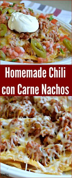 Homemade Chili Con Carne Nachos - these are sure to be a hit at your next party.