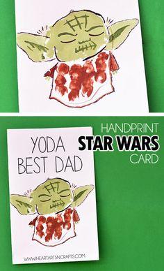 'Yoda Best Dad' Handprint Star Wars Father's Day Card day star wars Handprint Yoda Father's Day Card - I Heart Arts n Crafts Fathers Day Art, Fathers Day Crafts, Toddler Art Projects, Fun Projects, My Funny Valentine, Valentines, Meister Yoda, Diy Father's Day Cards, Men's Cards