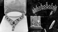 King George's wedding gift to his daughter Princess Elizabeth: A diamond necklace. On right is a Coronet from Queen Mary, who also gave the earrings seen in picture.