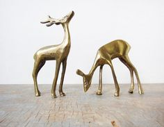 Vintage Brass Deer Figurines #etsy
