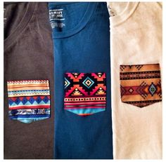Use normal tee shirts and attach Aztec/tribal Inspired printed pockets to them. So cool!