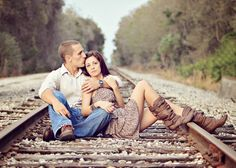 railroad tracks, railroad, engagement photos
