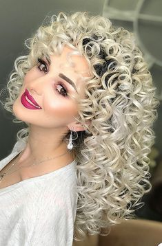 With thanks to David 😊. Curly Prom Hair, Prom Hair Medium, Medium Hair Styles, Curly Hair Styles, Natural Hair Styles, Medium Curly, Big Blonde Hair, Bleach Blonde Hair, Big Hair