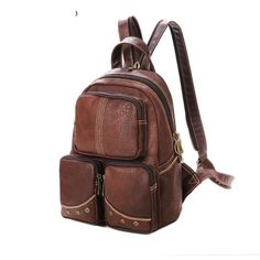 Dark Brown PVC Backpacks with Rigolous Thread for Girls