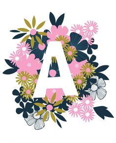 Letter A // Hand Lettering With Floral Border on Behance