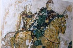Mural in Ste. Radegonde, Chinon a theory suggests this is Richard and his brother Geoffrey.