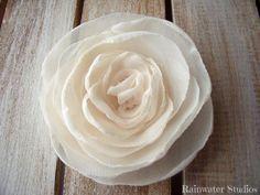 Wedding Hair Flower Ivory Cream Chiffon Bridal by RainwaterStudios, $12.00