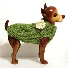 Grass Green Dog Sweater on Etsy, $16.00