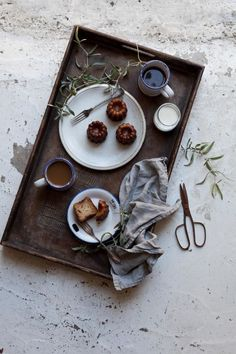 Breakfast tray. Food photography.