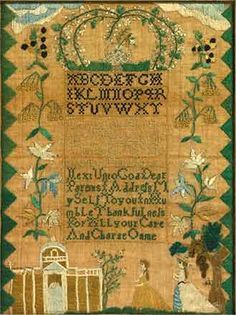 Baby Dabe, b. 1777, Sara Fiske Stivours Scool [sic], Salem, MA.  Made June 27, 1789                        This needlework sampler was created by Baby Dabe (B. 1777), Sara Fiske Stivours Scool, Salem, MA               Inscribed: Naby Dane her Sampler Wrought June The 27 1789 Born July The 19 1777 Next Unto God Dear Parents I Address MySelf To you In Humble Thankfulness For All your Care And Charge On me.